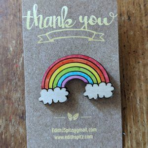 Rainbow Pin Wooden Laser Cut NWT